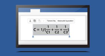 Bir belgedeki denklem