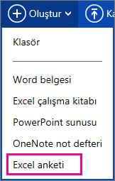 Excel anketi oluşturma