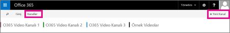 Kanallar düğmesi ve + Yeni Kanal düğmesi