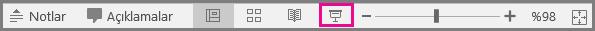 PowerPoint için durum çubuğunda Mac slayt gösterisi simgesi