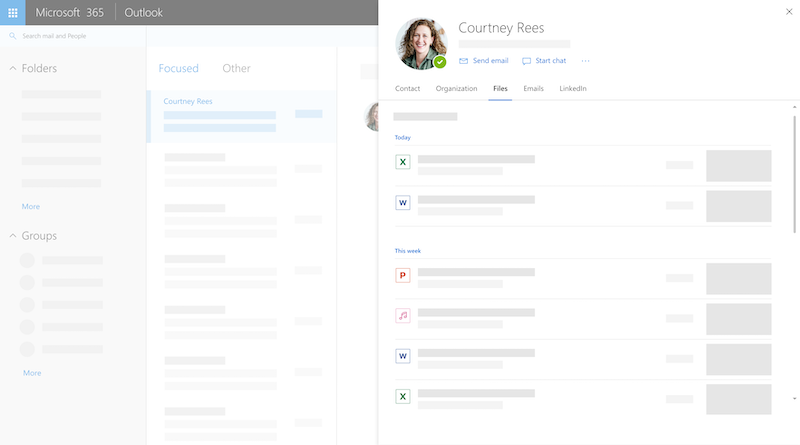 He web üzerinde Outlook'ta profil kartı