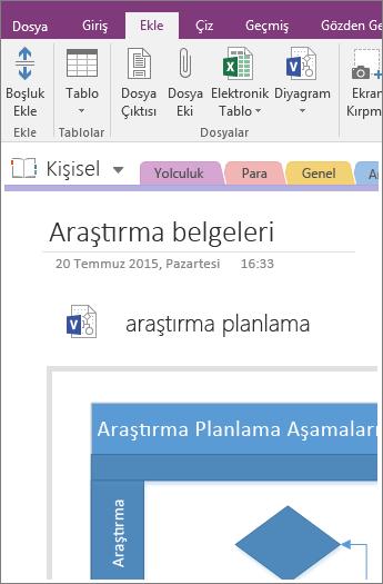 OneNote 2016'ya mevcut bir Visio diyagramı ekleme işleminin ekran görüntüsü.