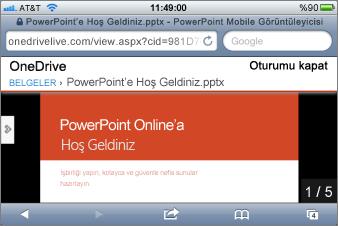 PowerPoint için Mobil Görüntüleyici'de Slayt gösterisi
