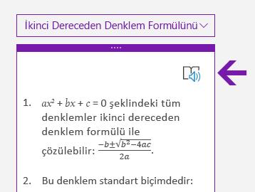 Windows 10 için OneNote'ta Matematik bölmesinde tam ekran okuyucu simgesi