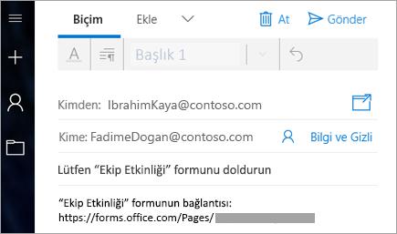 Formunuzun bağlantısını e-posta ile gönderme