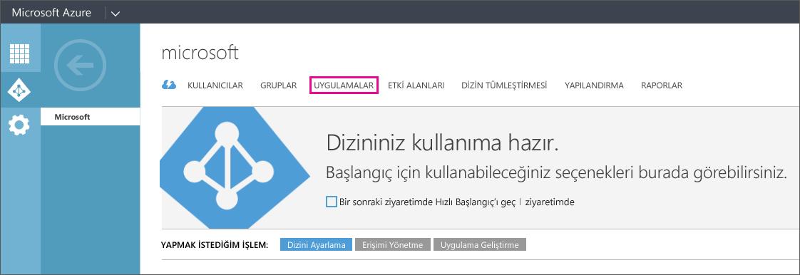 UYGULAMALAR seçeneğinin belirlendiği Azure AD menüsünü gösterir.
