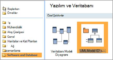 Yazılım ve veritabanı seçin