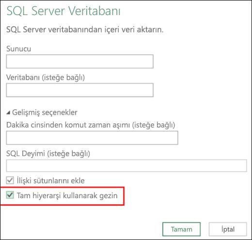 Excel Power BI gelişmiş ilişkisel veritabanı bağlayıcıları