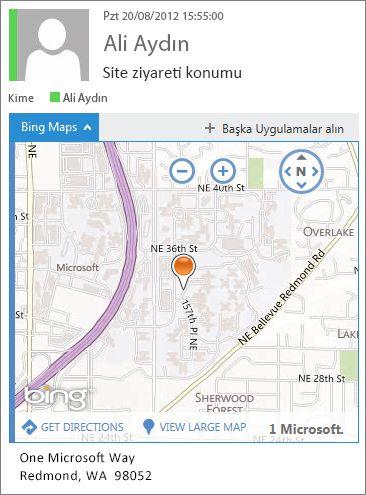 Bir haritada adres gösteren Bing Haritalar uygulaması ile e-posta iletisi