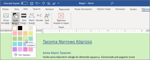 Yeşil arka planlı ve sayfa rengi seçicisinin açık olduğu bir Word belgesi