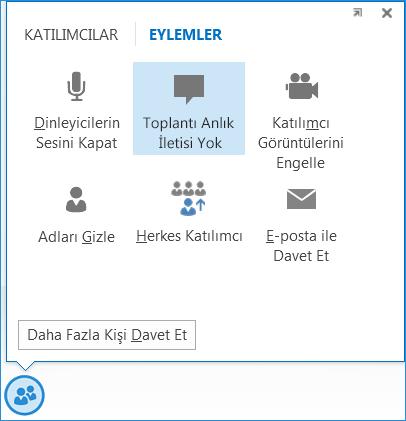 Toplantı Anlık İletisi Yok seçeneğinin ekran görüntüsü