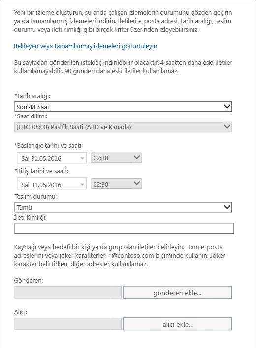 İleti izlemede sunulan seçenekleri gösteren ekran görüntüsü