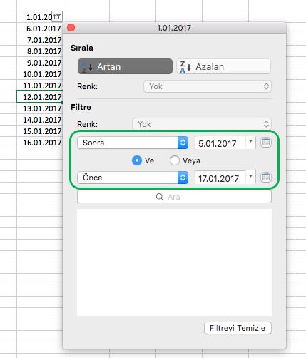 Mac için Excel tarih verilerini filtreleme