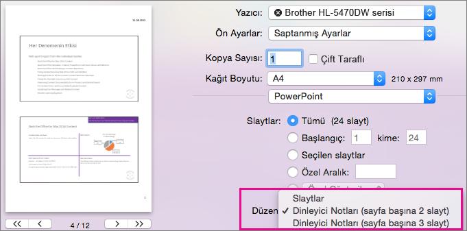 Mac için PowerPoint Preview Yazdırılacak Dinleme Notları
