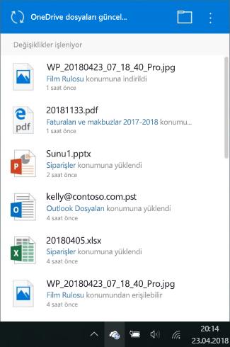 OneDrive işleme değişiklikleri ekranı