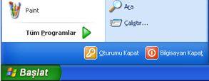 Windows XP Başlat düğmesi ve Çalıştır komutu
