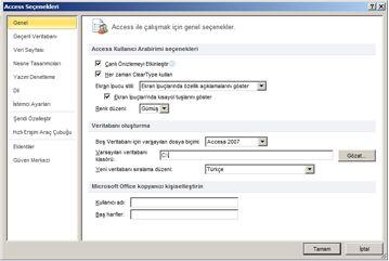 genel ayar seçenekleri için genel kategorisini görüntüleyen access seçenekleri iletişim kutusu.