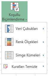 Excel Online'da koşullu biçimlendirme menüsü