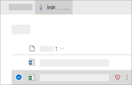 OneDrive Iş 'te engellenmiş dosyayı indirme ekranının ekran görüntüsü