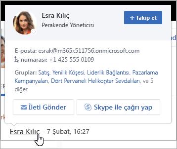 Kullanıcının kişi bilgilerini ve grup üyeliği gösteren hovercard