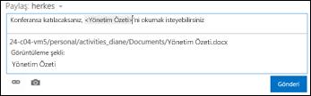 Haber akışı gönderisinde görüntülenen metinle biçimlendirilmiş belge URL'si