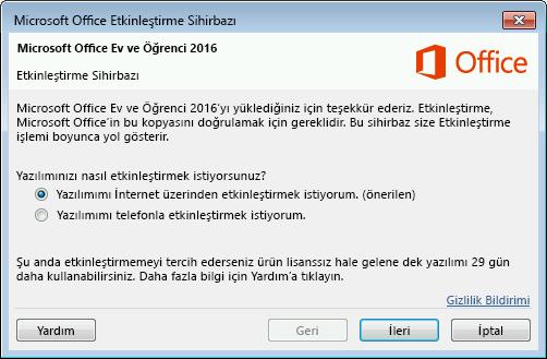 Microsoft Office Etkinleştirme Sihirbazı'nı gösterir