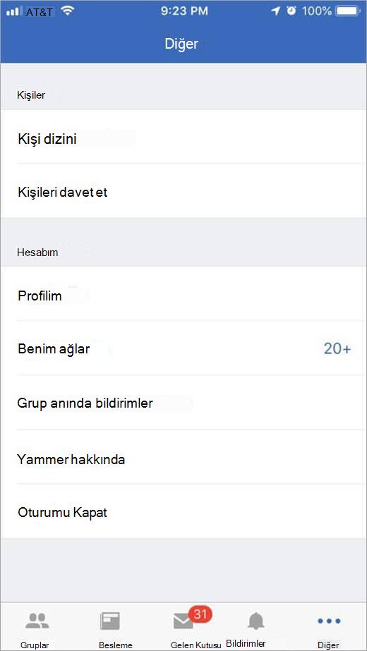 Daha fazla seçenek listeleyen iOS Yammer sayfası