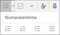 Windows 10 için OneNote'ta Giriş menüsü şeridinde Numaralandırılmış liste düğmeleri.