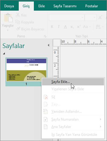 Publisher'da Sayfalar gezinti bölmesindeki Sayfa Ekle.