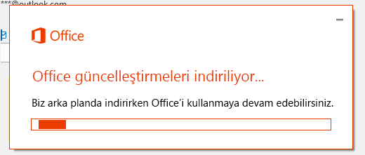 Office güncelleştirmeleri indirme iletişim kutusu