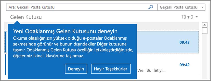 Kullanıcılarınıza dağıtımı yapıldıktan ve Outlook yeniden açıldıktan sonra Odaklanmış Gelen Kutusu'nun nasıl görüneceğini gösteren resim.