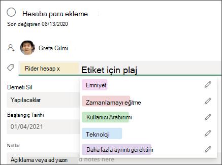 Planner görev kartında etiket ekle metin kutusunun ekran görüntüsü