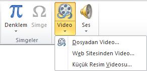 PowerPoint 2010'da çevrimiçi video eklemeye yönelik şerit düğmesi