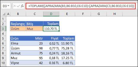 İki seçim arasında yer alan bir değer aralığının toplamını alan, DÜŞEYARA işlevini TOPLA ile kullanma