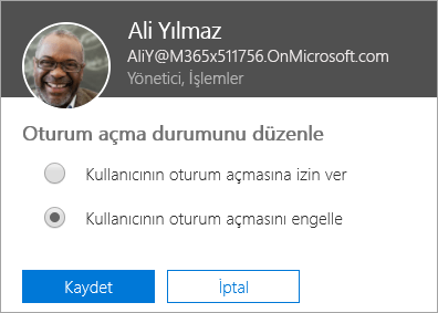 Office 365'te Oturum açma durumu iletişim kutusunu gösteren ekran görüntüsü