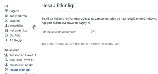 Etkin Yammer oturumu olmayan (oturumunu kapatmış) bir kullanıcının Hesap Etkinliğini gösteren ekran görüntüsü
