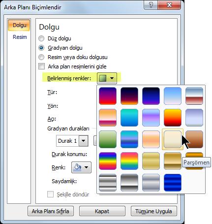 Önceden belirlenmiş bir gradyan kullanmak için Belirlenmiş Renkler'i seçin ve ardından bir seçenek belirtin.