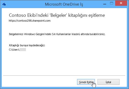 Ekip sitenizdeki dosyaları masaüstü bilgisayarınızla eşitlemeye başlamak için Şimdi eşitle düğmesini seçin.