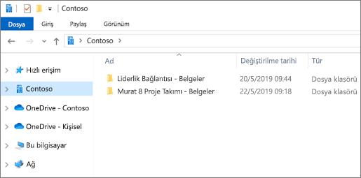 OneDrive ve siteler için eşitleme klasörlerini gösteren ekran görüntüsü.