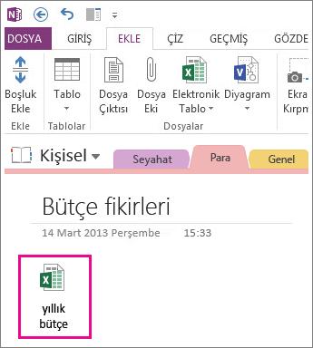 Var olan bir Excel dosyasını ekleme
