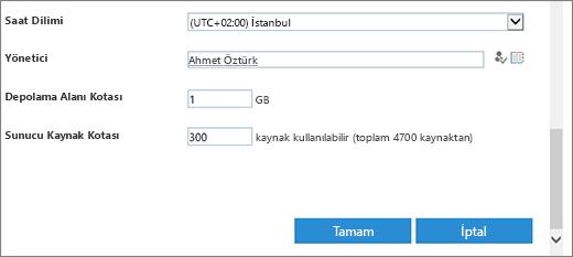 Yeni site koleksiyonu iletişim saat dilimi ve kotaları bölümü.