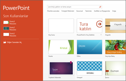 PowerPoint 2013 başlangıç ekranı