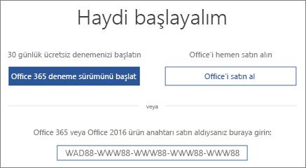 """Bu cihazda Office 365 deneme sürümünün bulunduğunu belirten """"Başlayalım"""" ekranını gösterir"""