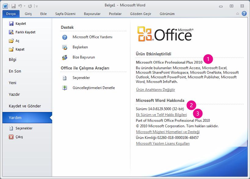 Word 2010'da Dosya > Yardım'a tıkladıktan sonra görüntülenen ürün bilgileri