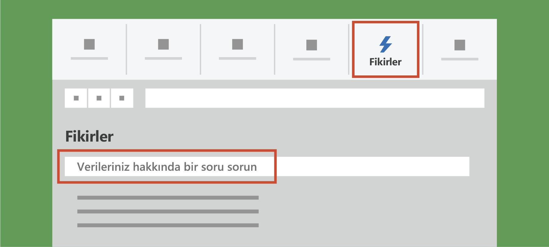 Excel'de Fikirler'i gösterir