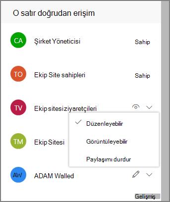 Doğrudan erişim bağlantılarının ekran görüntüsü