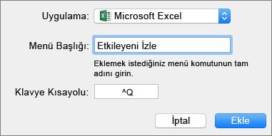 Office Mac 2016 özel klavye kısayolu örneği