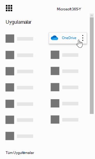 OneDrive uygulamasının vurgulandığı Office 365 uygulama başlatıcısı