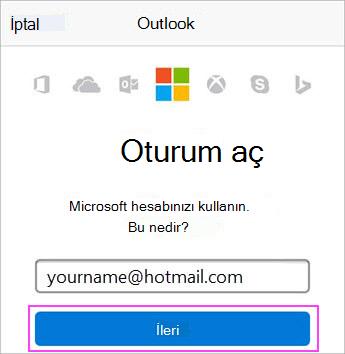 Outlook.com e-posta adresini girin