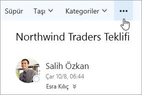 Outlook menü çubuğundaki Daha fazla komut düğmesinin ekran görüntüsü.